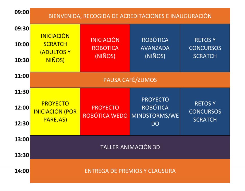 Horario de actividades del Scratch Day Segovia 2016